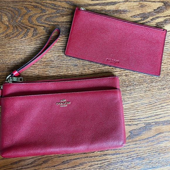 Coach red leather wristlet with detachable pouch